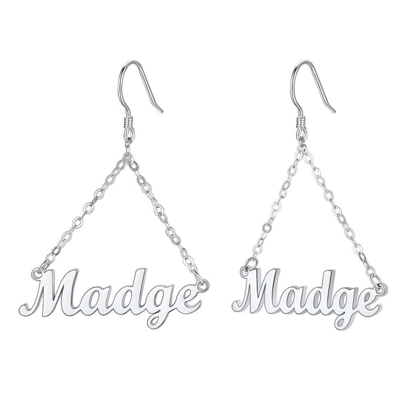 Classic simple minimalistic custom any name dangle drop earrings  Platinum Plated