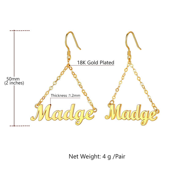 Personalized Custom Any Name Earrings Dangle Drop Hoop for Women Girls
