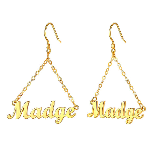 Classic simple minimalistic custom any name dangle drop earrings