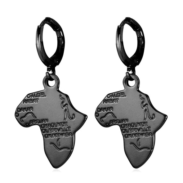 Africa Map Drop Earrings Custom 18K Gold Plated Ethnic African Style For Men Women