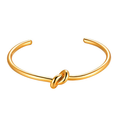 Classic Vintage Adjustable 18K Gold Plated Simple Knot Open Bangle Cuff Bracelet For Women