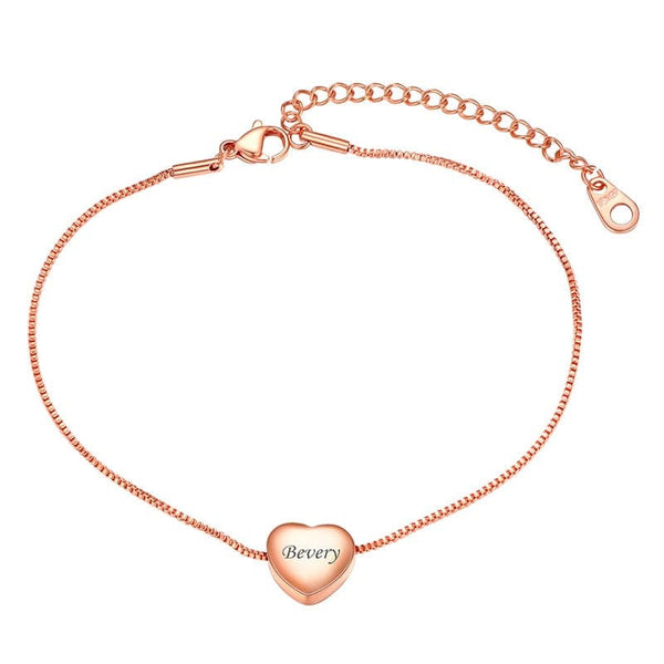 Personalized Engraving Heart Charm Bead 1.1mm wide Adjustable 9 inch - 11 Inch Box Chain Ankle Bracelet Anklet For Women