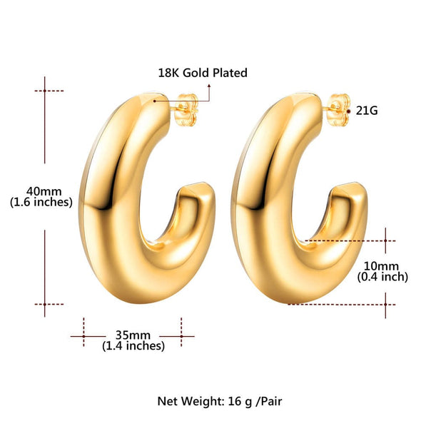35mm Thick C Shaped Hoop Earrings Gold Big Hollow Semicircle Earrings