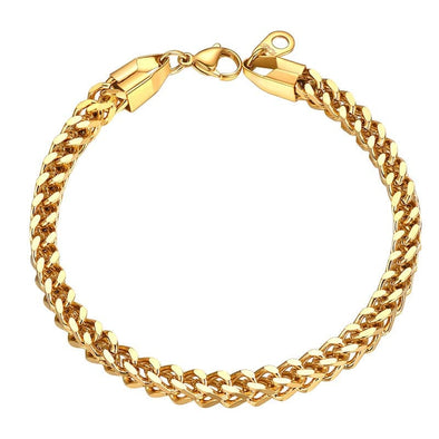 Exclusive 3mm/4.5mm/6mm Wide 316L Stainless Steel 18K Gold/Black Plated Double-Layer Cuban Chain Bracelet For Men And Women