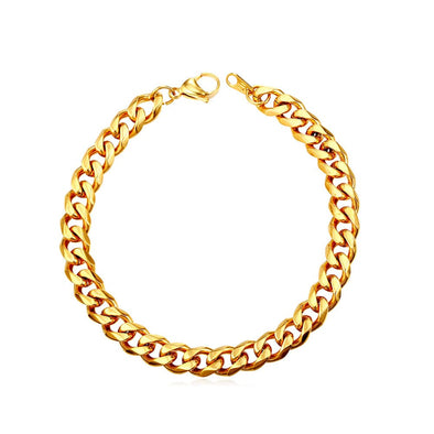 Exclusive 3mm/6mm/9mm Wide Engraving Clasp 316L Stainless Steel 18K Gold/Black Plated Hip Hop Cuban Link Chain Bracelet For Men And Women