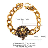 34MM Wide Lion Head Chain Bracelet Gold Plated Punk Animal Bangle For Men