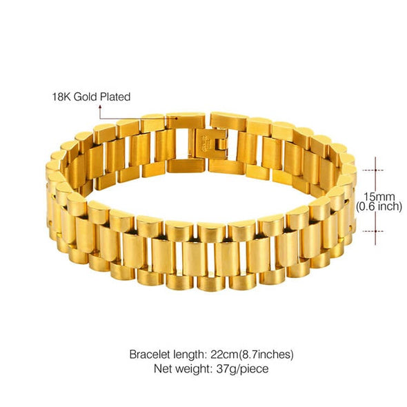 15mm 18K Gold Plated Chain Bracelet With Link Detaching Device For Men