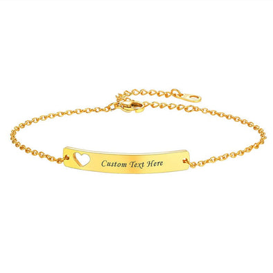 18k Gold Plated Hollow Heart Engraved Name Bar Chain Bracelet For Women