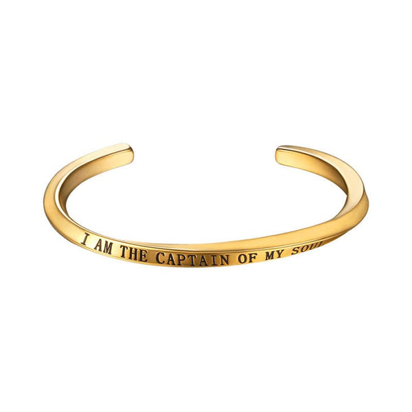 Encouraging Word Cuff Bracelet Gold I AM THE CAPTAIN OF MY SOUL Inspirational Jewelry For Women