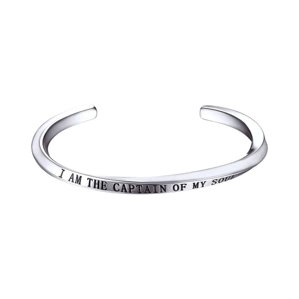 Simple Classic Adjustable 316L Stainless Steel 18K Gold/Black Plated Inspirational Twisted Open Bangle 5MM Cuff Bracelet With Encouraging Words For Men And Women