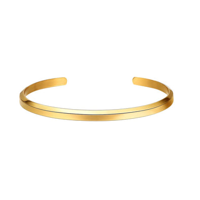 Simple Classic Adjustable 316L Stainless Steel 18K Gold/Rose Gold/Black Plated Half Circle Open Bangle 3.8MM Cuff Bracelet For Men And Women