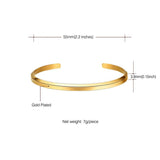 Half Circle Cuff Bracelet 18K Gold Plated Simple Bangle For women