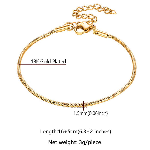 Size Of Classic 1.5mm Wide Thin Round 316L Stainless Steel, 18K Gold/Rose Gold/Black Plated Snake Chain Bracelet For Men And Women