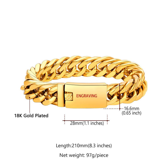 Luxury 16mm Wide Miami Curb Cuban Link Chain Bracelet