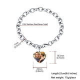 Stainless Steel Link Chain Bracelet With Personalized Heart Colored Photo Charm for Women and Men