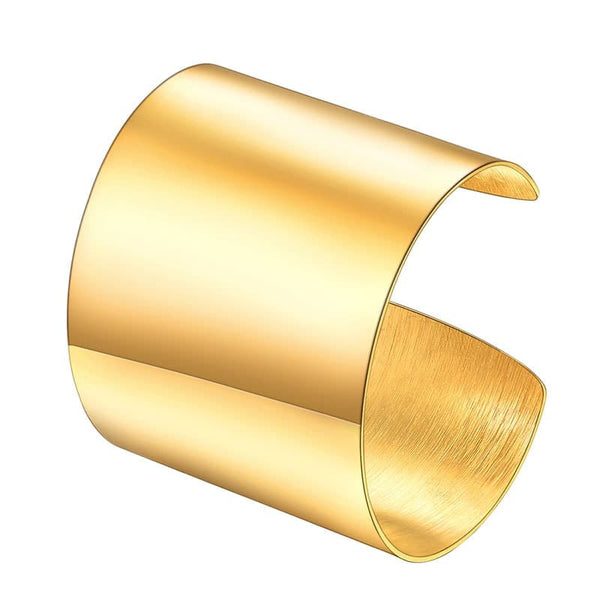 Large/Medium Wide 18k Gold Plated Metal Fashion Cuff Bracelet for Women