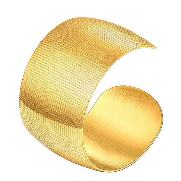 Contemporary 18k Gold Plated Fine Grain Patterned Cuff Bracelet For Women