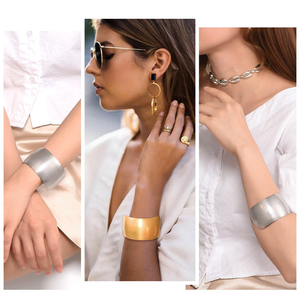 Chic Stackable Minimalist Handmade Custom Engraving 316L Stainless Steel 18K Gold Plated Grid Grain Statement Large 38MM Wide Bright Chunky Open Cuff Bracelet For Women And Girls