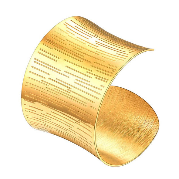 Contemporary 18k Gold Plated 50mm Wide Concave Patterned Cuff Bracelet For Women