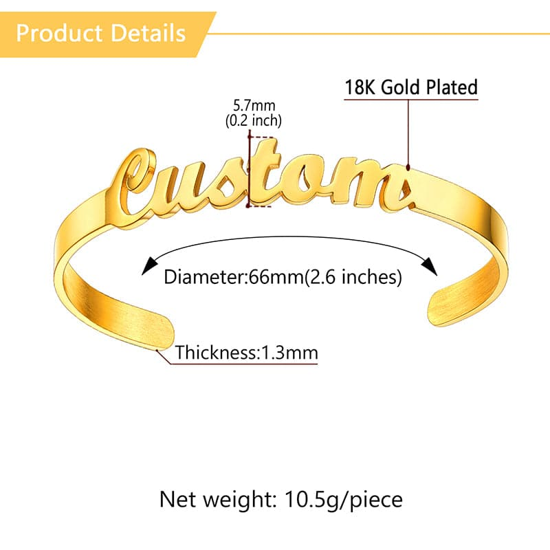 Classic custom 316L stainless steel 18k gold plated hollow out initial name bracelet open cuff bangle for women girls
