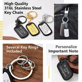 Rubber Edge Military Dog Tag Keychain In Stainless Steel