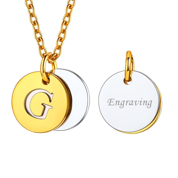 Personalized Engraving 18k Gold Plated Two-Tone Double Overlapping Hollow Initial Letter Round Disk Coin Necklace For Women