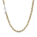 5mm Wide Two Tone Gold Silver Byzantium Box Chain Necklace for Men and Women