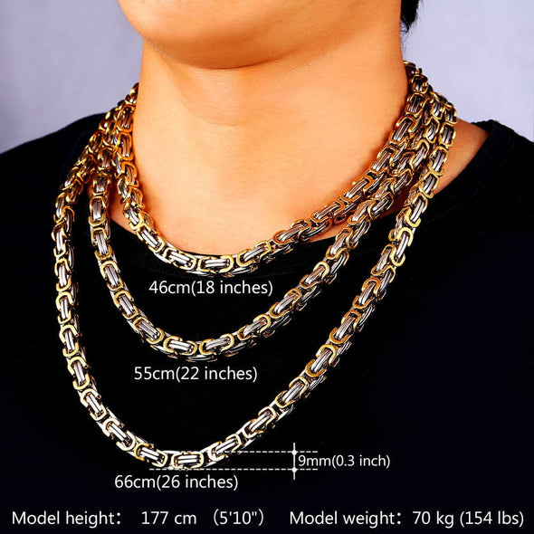 8MM Wide Two Tone Gold Chain Men Stainless Steel Necklace Never Fade Party Byzantine Link Chain Chunky