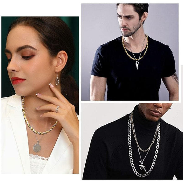 Gold chain for men women unique hiphop 5mm wide 316l stainless steel/18k gold plated two tone twisted rope chain necklace