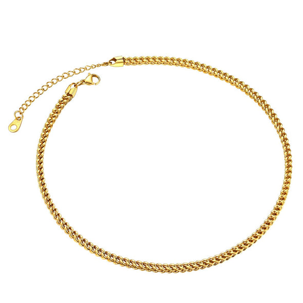 "Gold chain for men women fashion 3mm/4.5mm/6mm wide 316L stainless steel 18K gold/black plated 4D franco curb chain necklace bracelet, eight length options 14""18""20""22""24""26""28""30 inches"