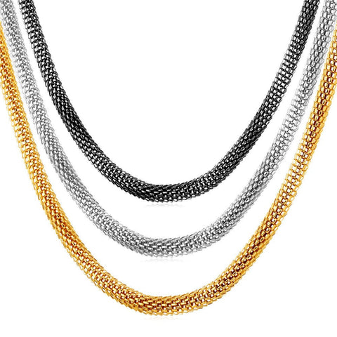 Stainless Steel Chain 18K Gold Plated 2 size Options Round Popcorn Link Chain Necklace For Men