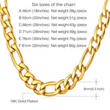 9MM Wide U7 Gold Chain Men's Figaro Chain Necklace in 18K Gold Plated Men Jewelry