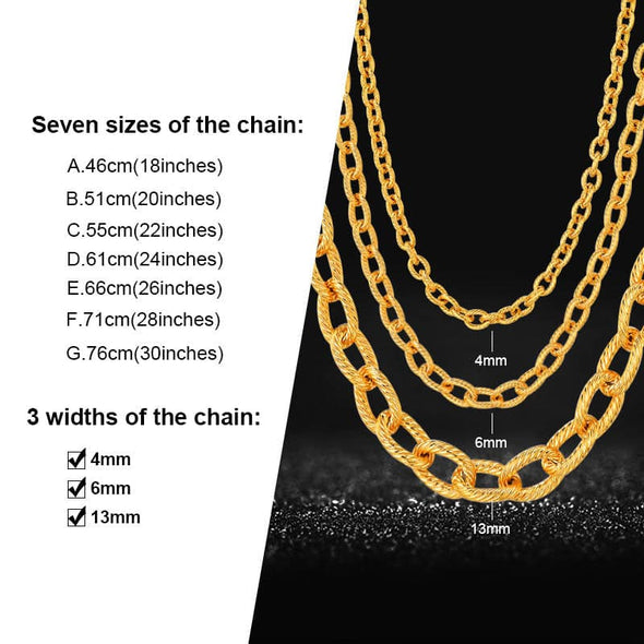 4mm/6mm/12mm Wide Circle Chain Necklace Hip Hop 18K Gold Plated Chains Length 18-30 Inch