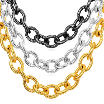 Gold chain for men and women, the essential chunky cable link chain necklace,18K gold/black plated and 316L stainless steel, with swirl texture,unique and solid.