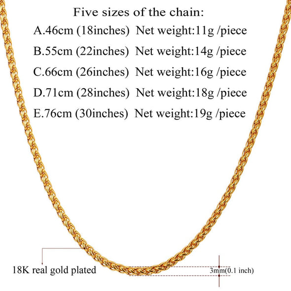"Gold chain for men fashion 3/6/9mm wide 316L stainless steel 18K gold/black plated rope wheat chain necklace bracelet 18""-30"""