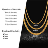 Essential Hip Hop 3MM/6MM/9MM Wide Wheat Spiga Chain Necklace for Men