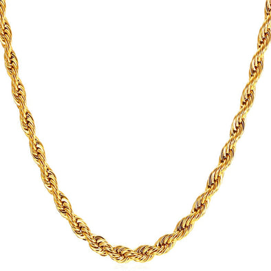 Stainless Steel Rope Chain Necklace 18K Gold Plated For Rapper Men