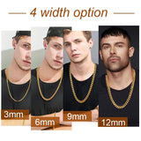 3MM/6MM/9MM/12MM Miami Cuban Link Chain Big Chunky/Thin Stainless Steel Necklace Men