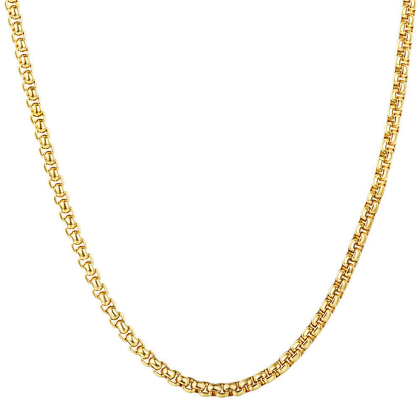 3MM Gold Round Box Chain Stainless Steel Square Pearl Chain For Men