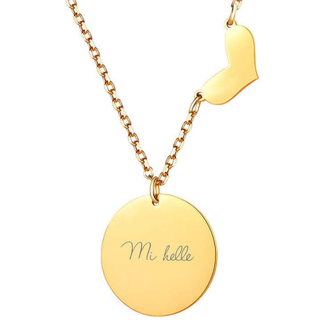 Engravable Coin Necklace & Heart Pendant Round Custom Hand Stamped Name ID Personalized Jewelry