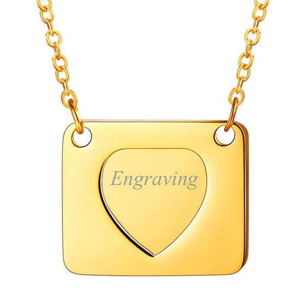 Envelope Necklace Engraved Love Letter Envelope Pendant Custom Jewelry