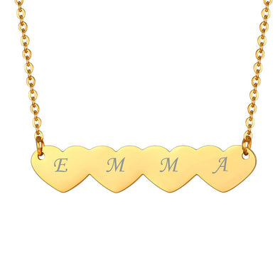 Engraved Cloud/Butterfly/4 Hearts Pendant Necklace 18K Gold Plated For Women Girl Kids