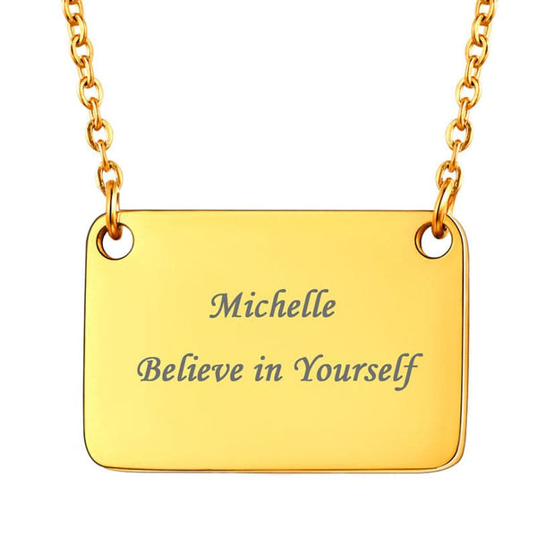 Minimal 18k Gold Plated Personalized Engraving Small Square Plate Choker Necklace For Women