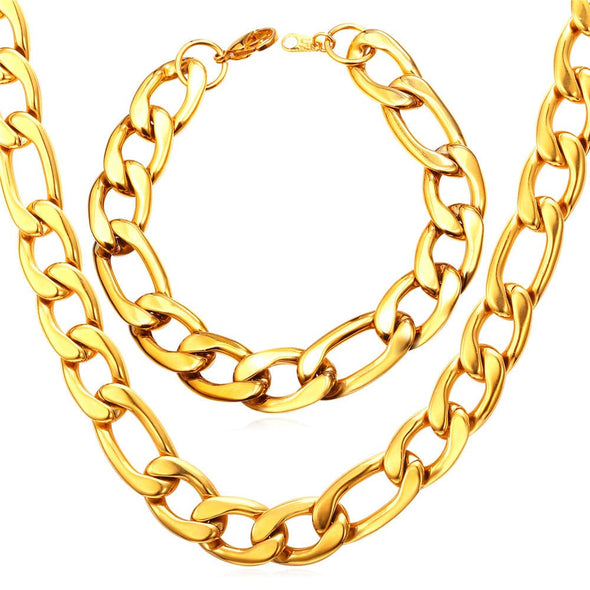 Gold chain for men and women classic punk 316L stainless steel 18K gold/black plated 12mm wide chunky Figaro chain necklace bracelet set