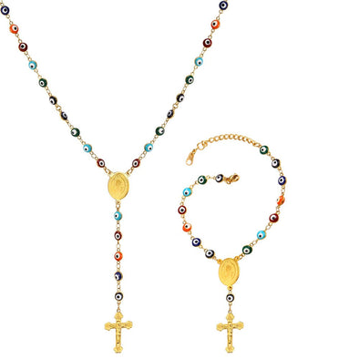 Evil Eye Necklace Bracelet With Cross Christian Y Rosary Beads Jewelry