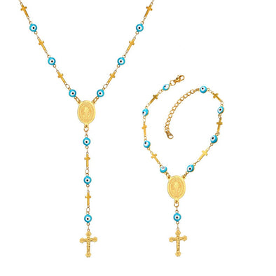 Evil Eye Cross Charm Necklace Bracelet Rosary Beads Jewelry for Women
