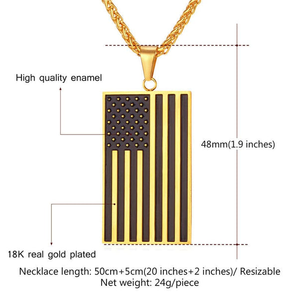 Stainless Steel American Flag Men Chain Pendent Necklace USA Symbol Necklace Men Jewelry
