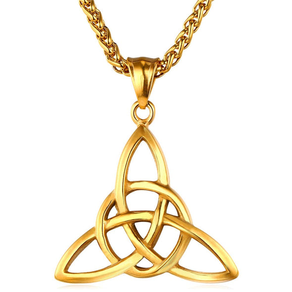 Irish Celtic Knot Triquetra Trinity Necklace Vintage Women Men Jewelry 18K Gold Plated