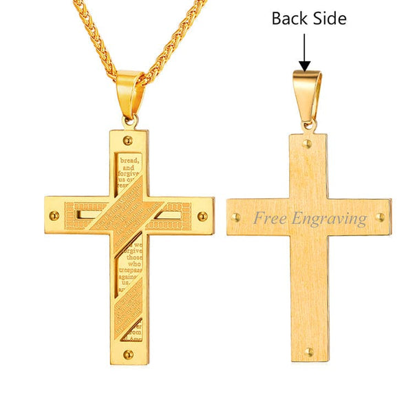 Gold Cross Jesus Piece with Holy Bible Pendant Necklace Christian Jewelry