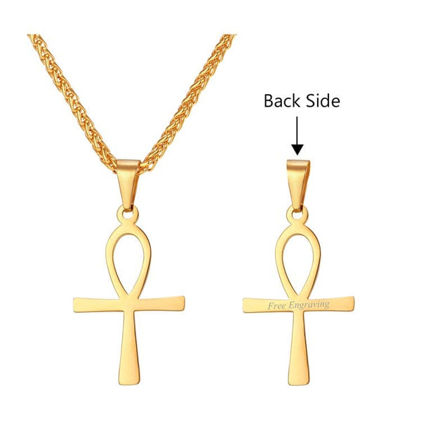 18K Gold Plated Ankh Cross Necklace Egyptian Men Jewelry The Key of the Nile Vintage Pendant